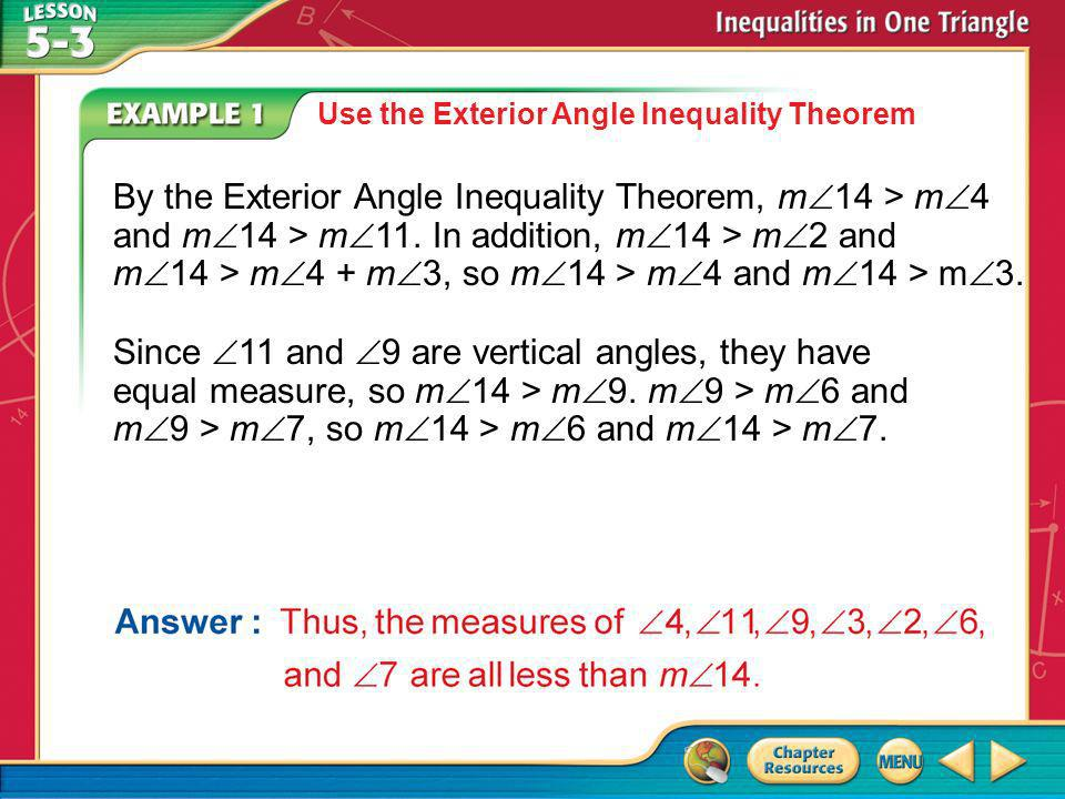 Use the Exterior Angle Inequality Theorem