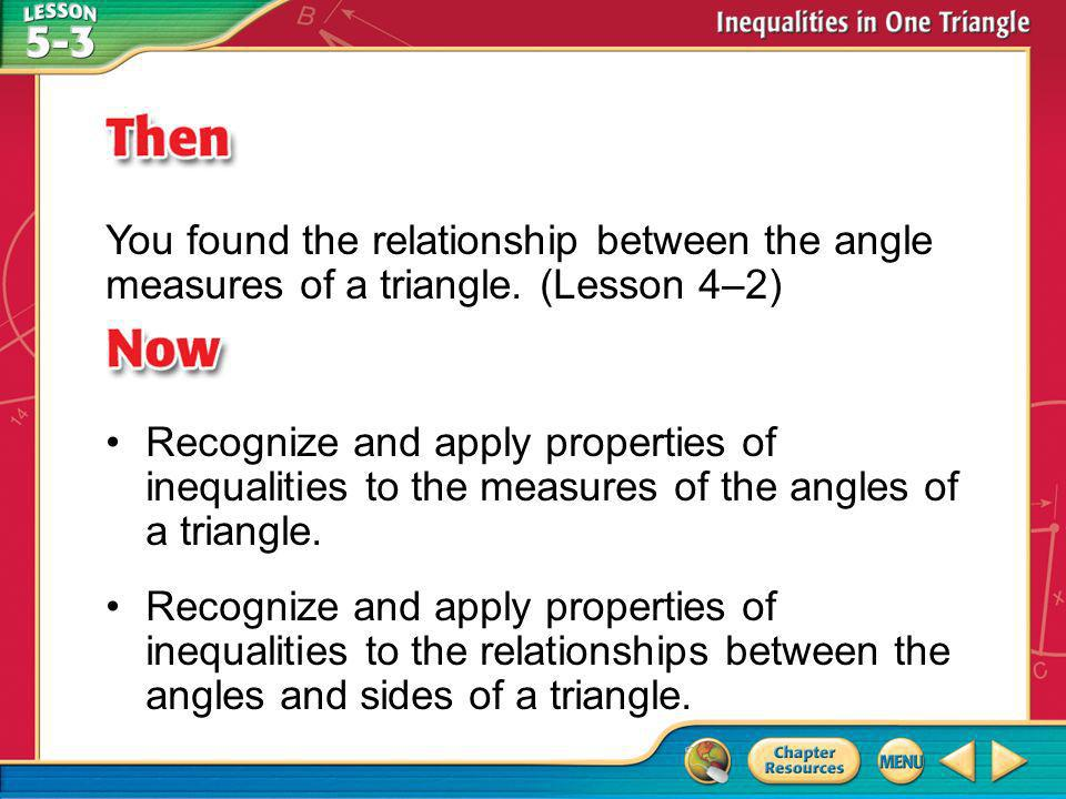You found the relationship between the angle measures of a triangle