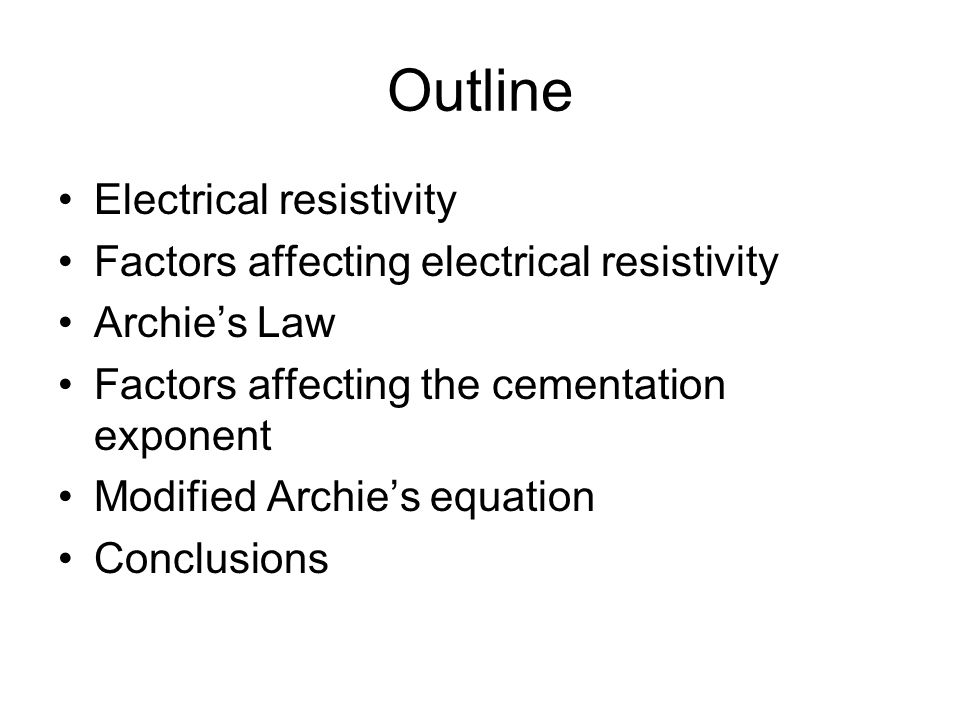 Outline Electrical resistivity