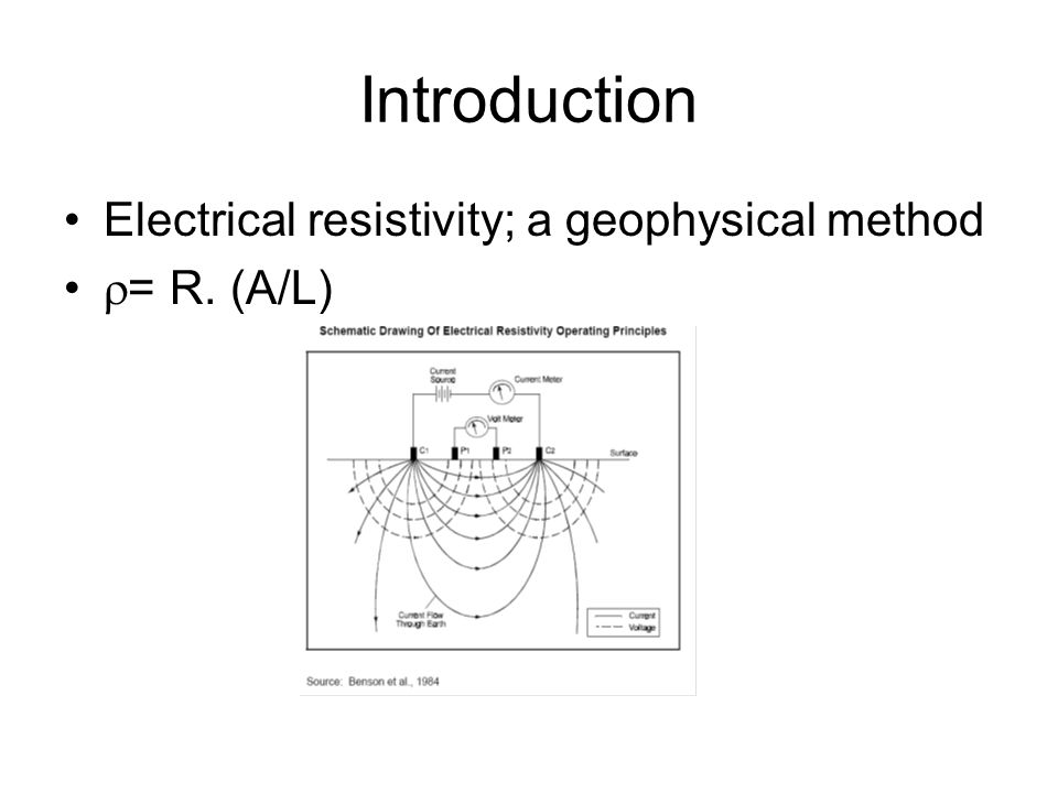 Introduction Electrical resistivity; a geophysical method = R. (A/L)