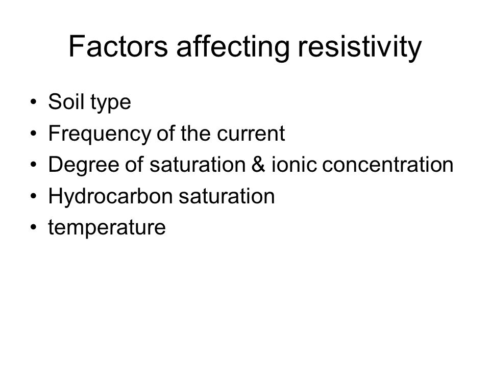 Factors affecting resistivity