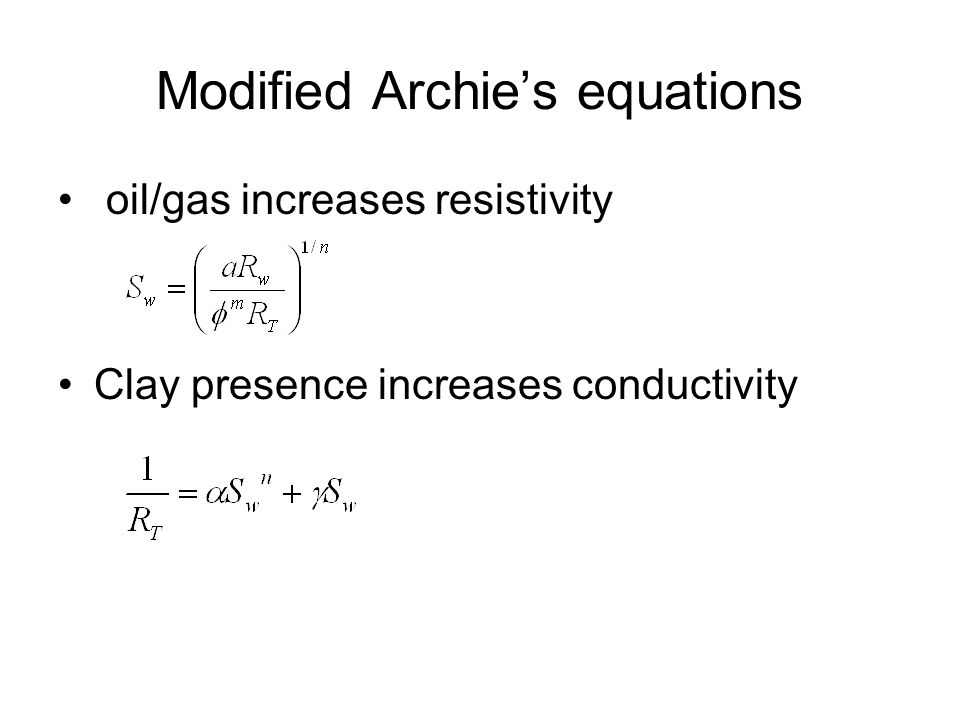 Modified Archie's equations