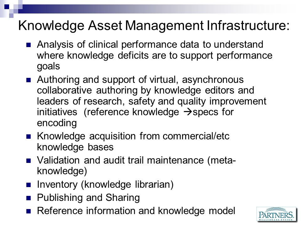 Knowledge Asset Management Infrastructure: