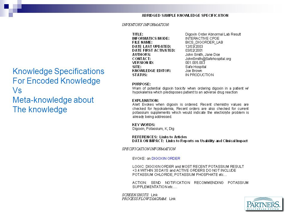 Knowledge Specifications