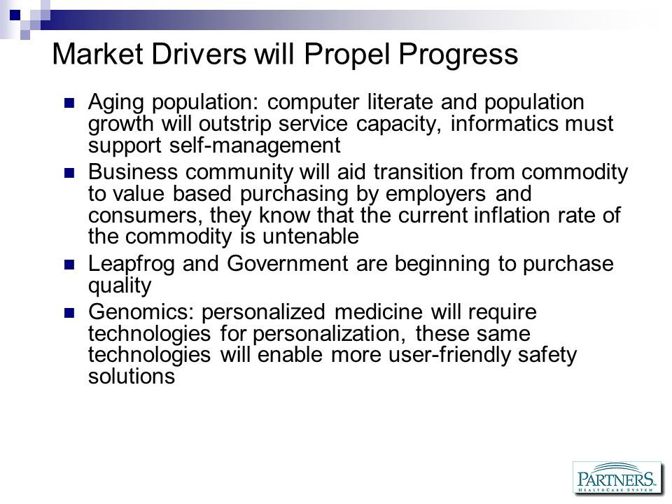 Market Drivers will Propel Progress