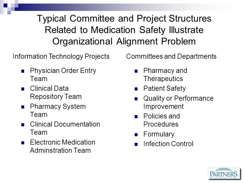 Typical Committee and Project Structures Related to Medication Safety Illustrate Organizational Alignment Problem