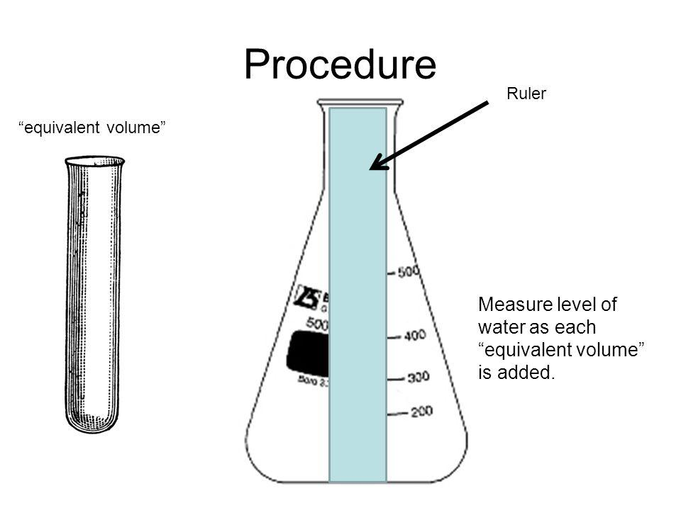 Procedure Measure level of water as each equivalent volume is added.