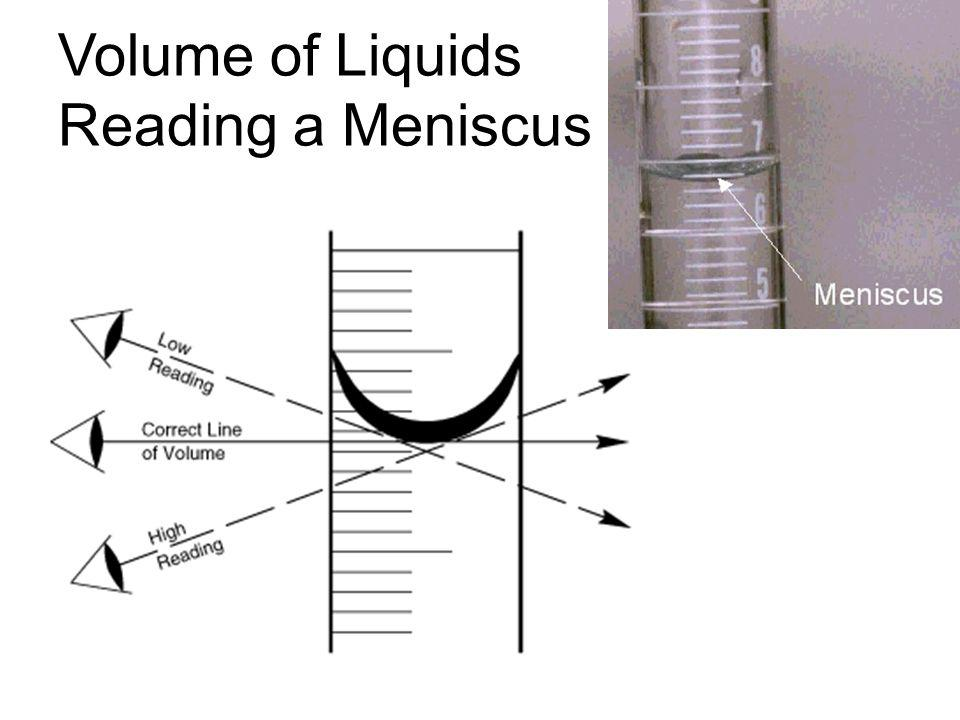 Volume of Liquids Reading a Meniscus