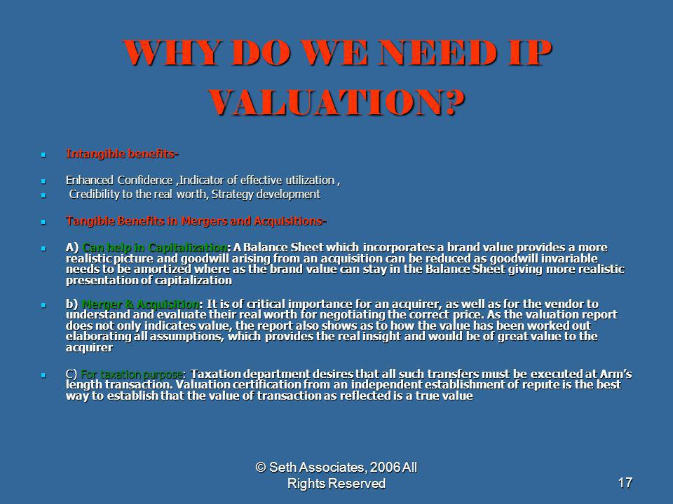WHY DO WE NEED IP VALUATION