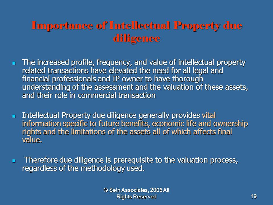 Importance of Intellectual Property due diligence