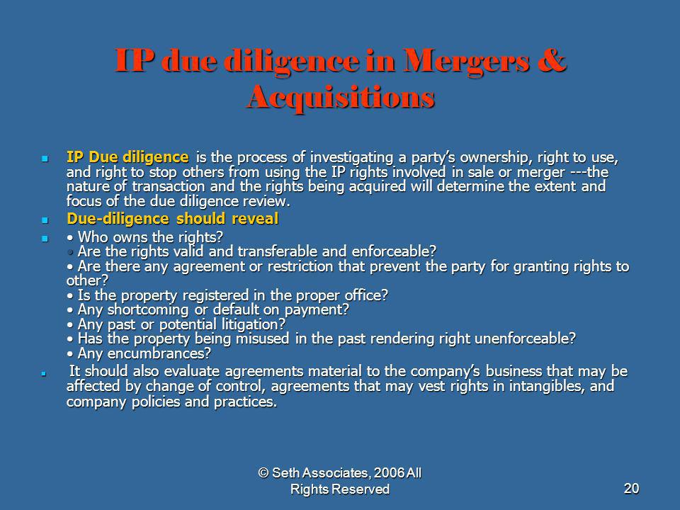 IP due diligence in Mergers & Acquisitions