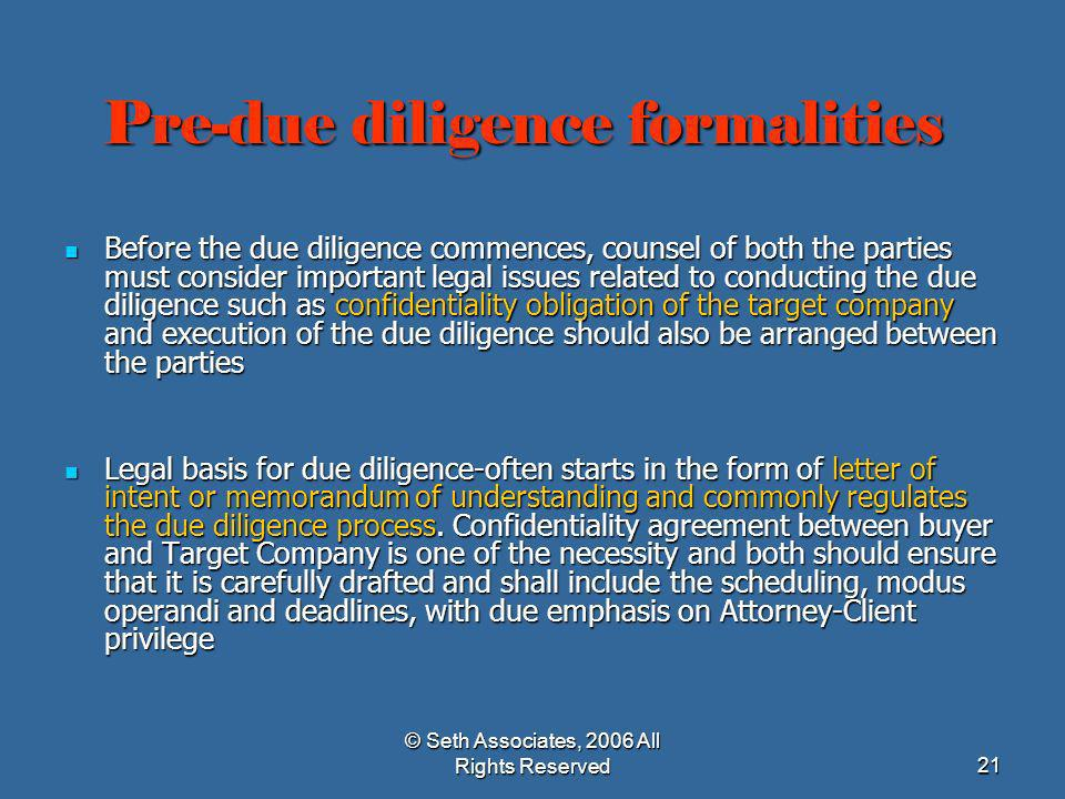 Pre-due diligence formalities