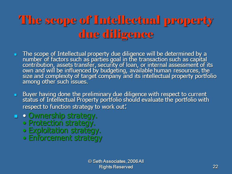 The scope of Intellectual property due diligence