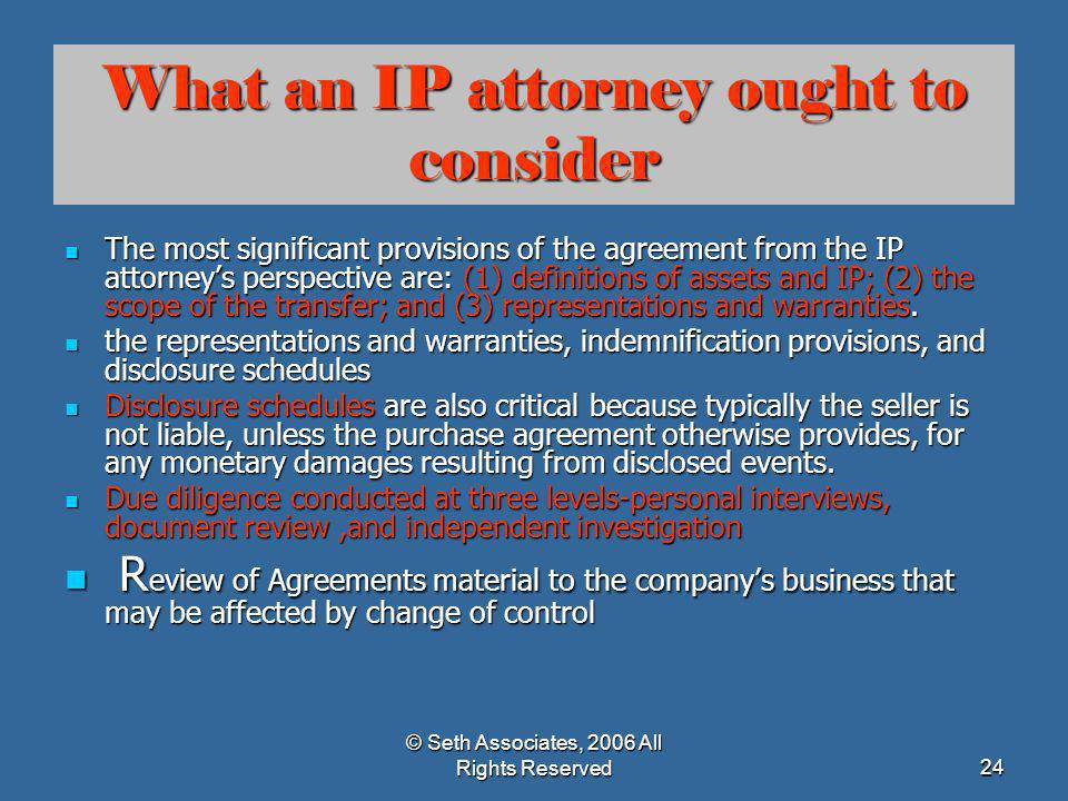 What an IP attorney ought to consider