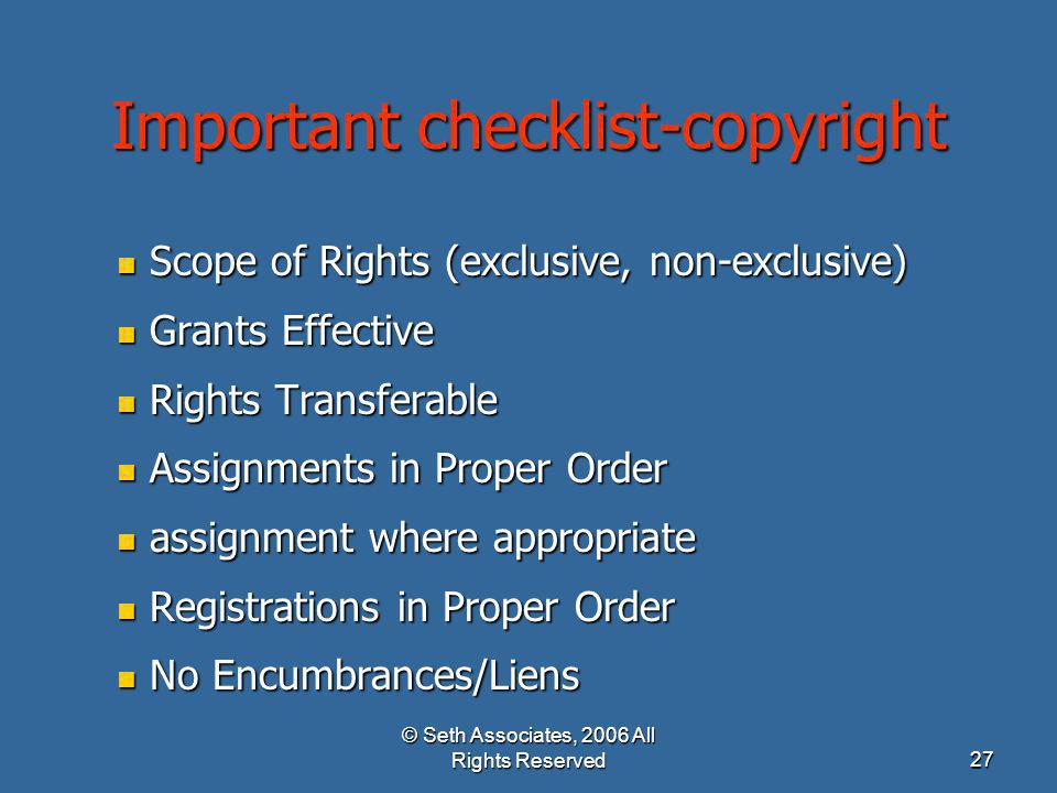 Important checklist-copyright