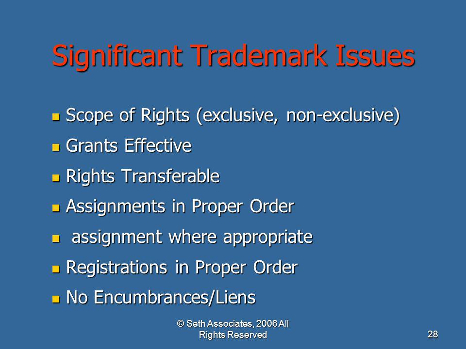 Significant Trademark Issues
