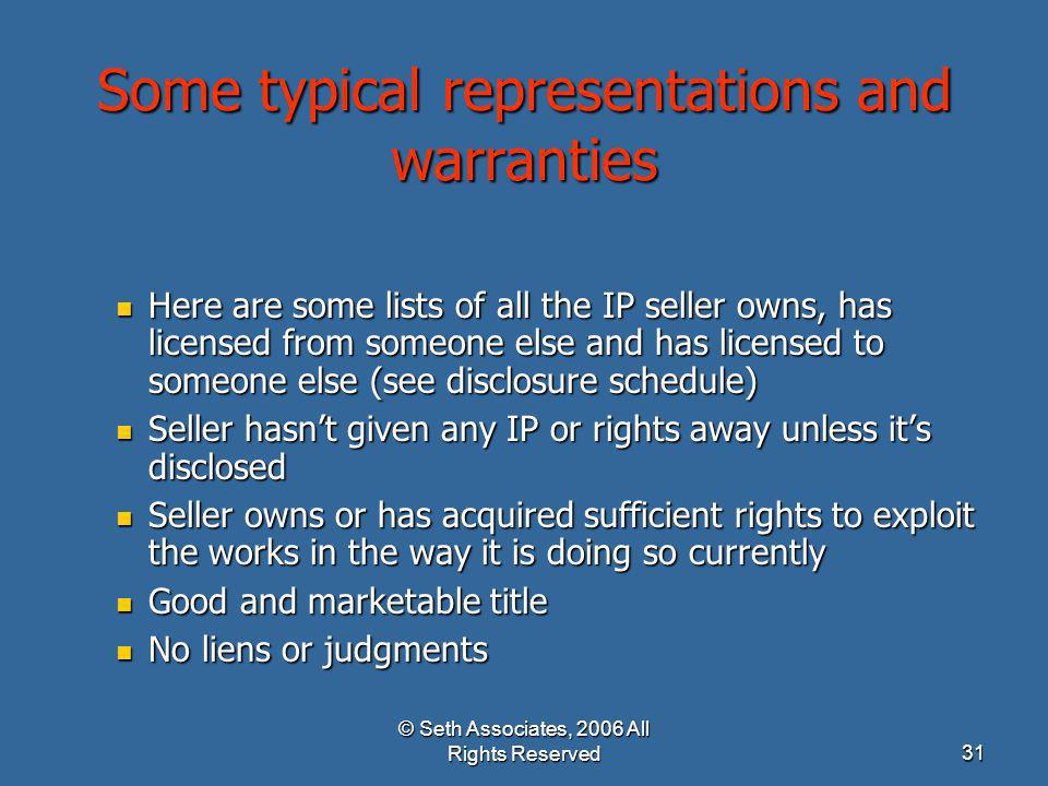 Some typical representations and warranties