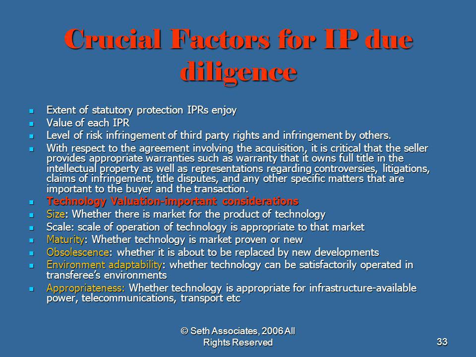Crucial Factors for IP due diligence