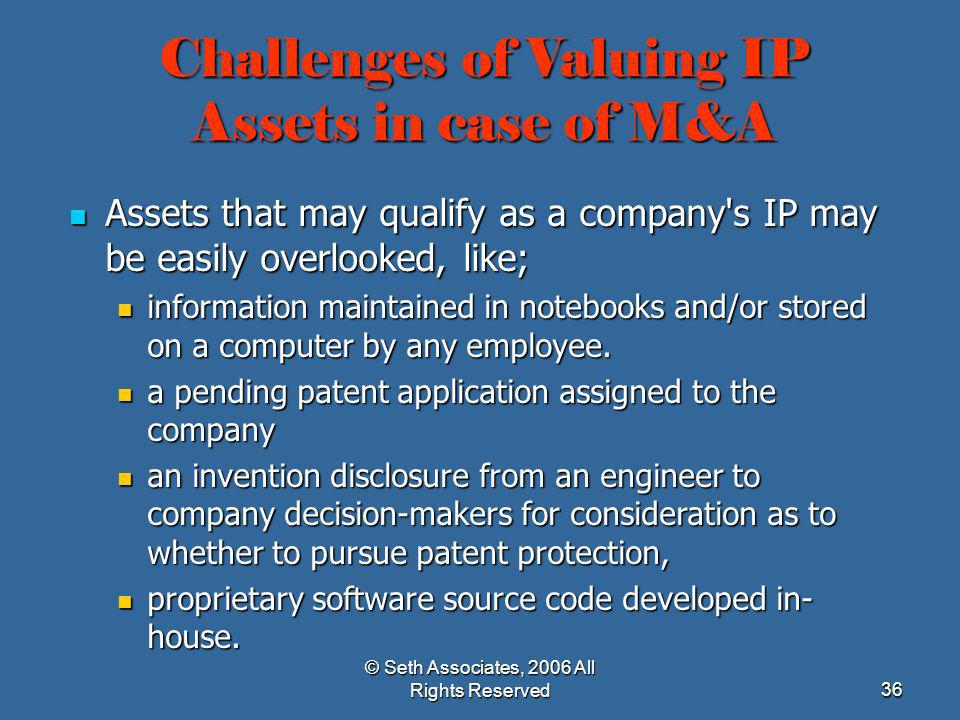 Challenges of Valuing IP Assets in case of M&A