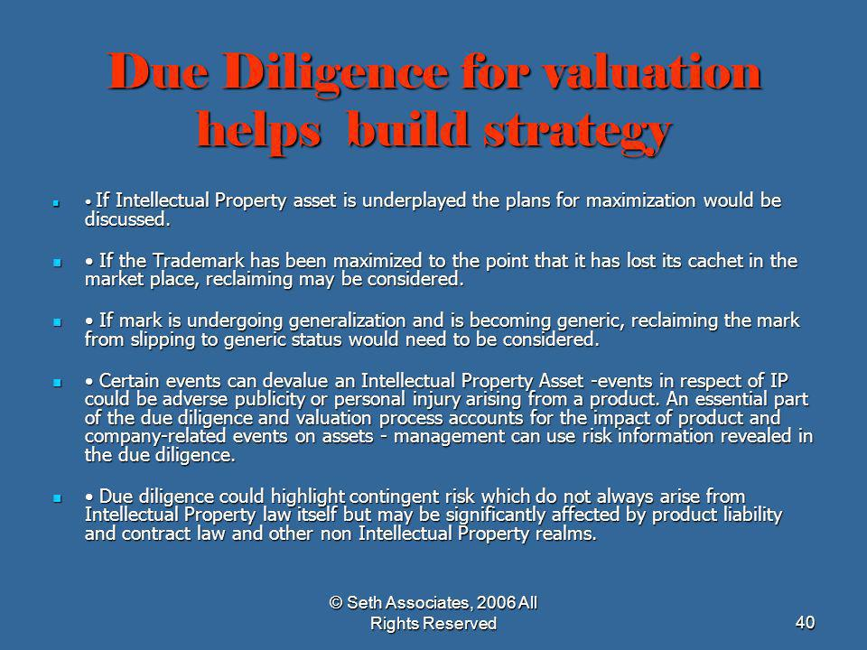 Due Diligence for valuation helps build strategy
