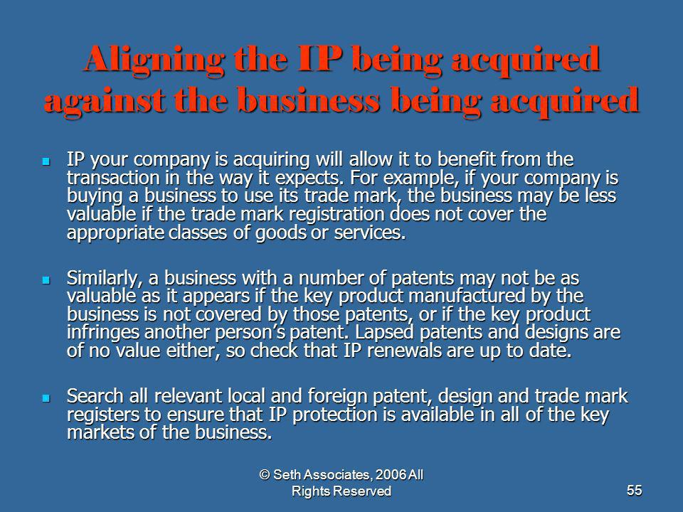 Aligning the IP being acquired against the business being acquired