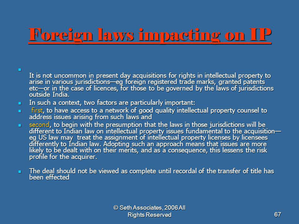 Foreign laws impacting on IP
