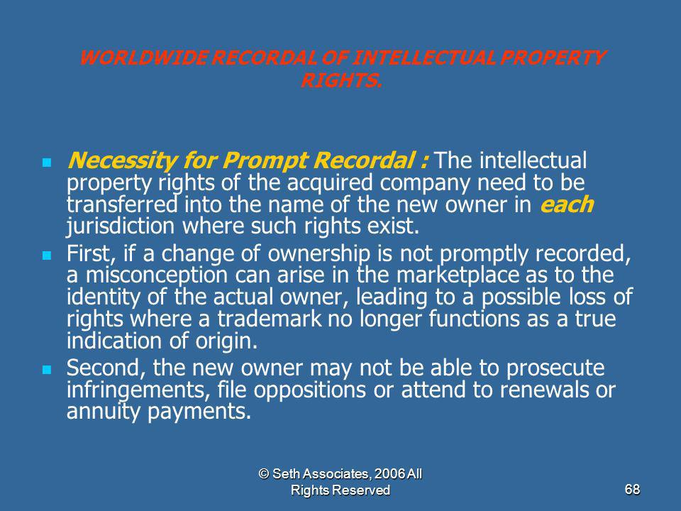 WORLDWIDE RECORDAL OF INTELLECTUAL PROPERTY RIGHTS.
