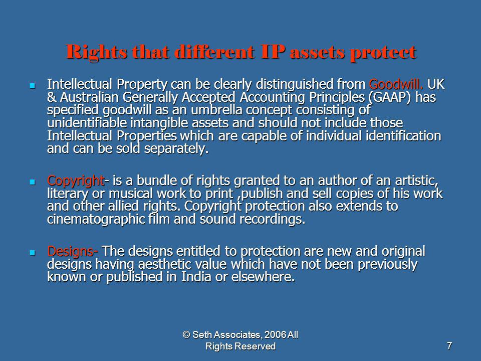 Rights that different IP assets protect