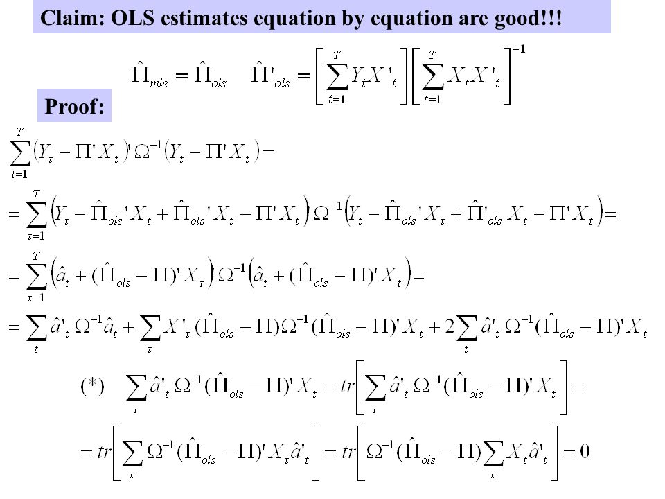 Claim: OLS estimates equation by equation are good!!!