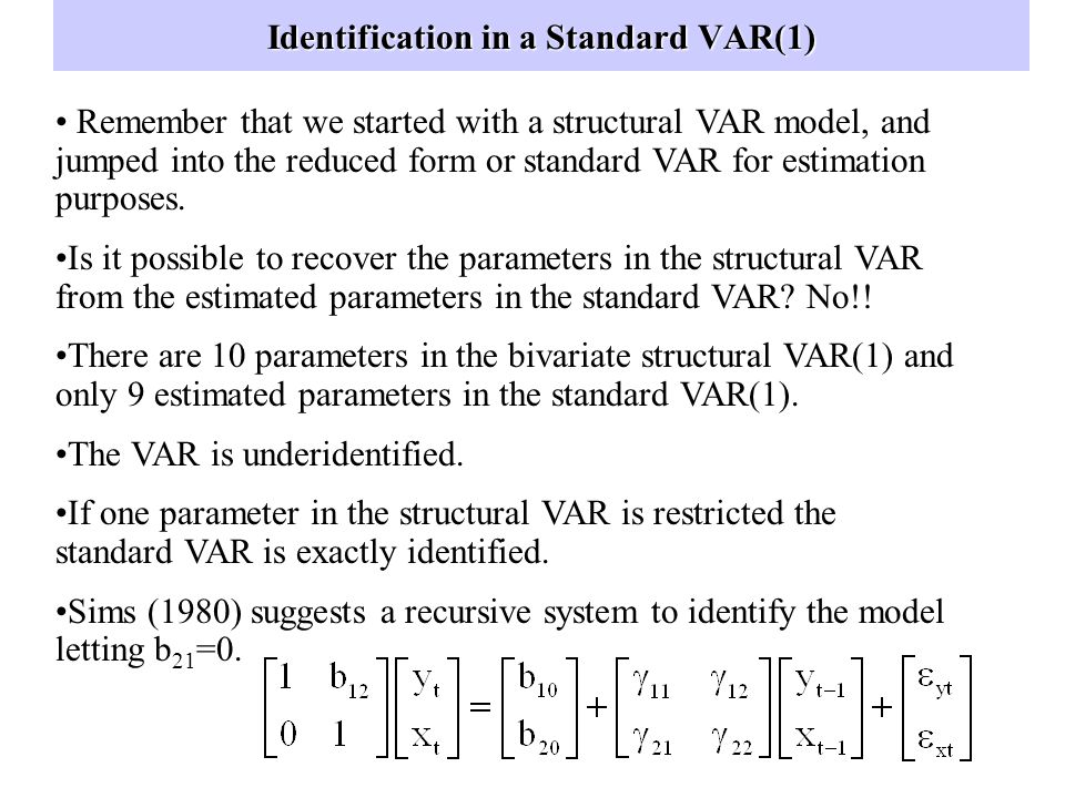 Identification in a Standard VAR(1)