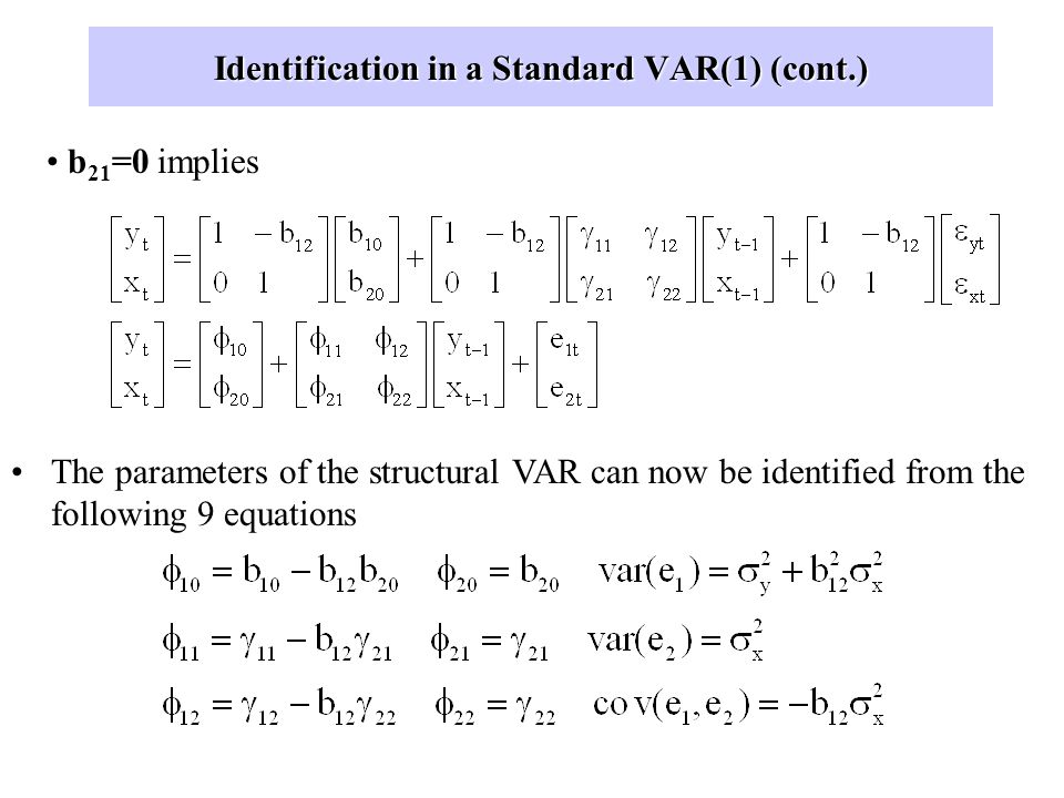 Identification in a Standard VAR(1) (cont.)