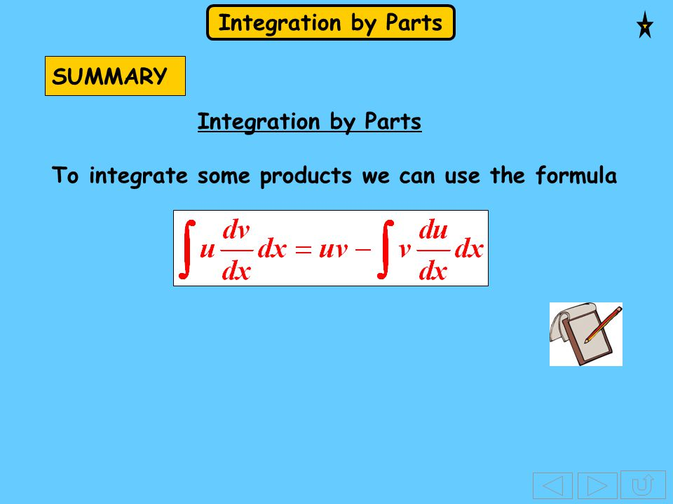 SUMMARY Integration by Parts To integrate some products we can use the formula