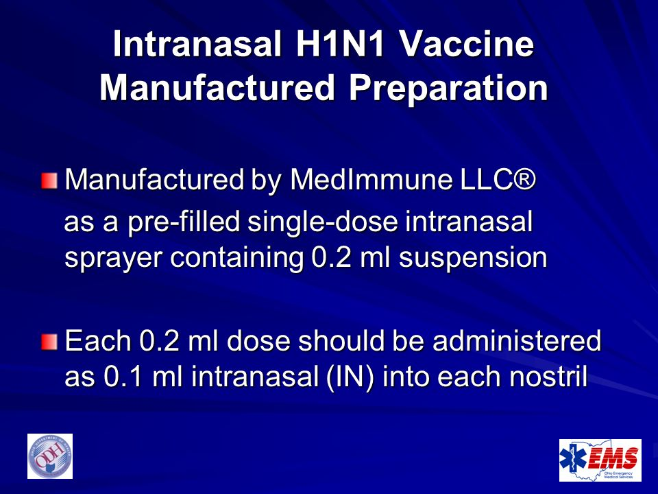 Intranasal H1N1 Vaccine Manufactured Preparation