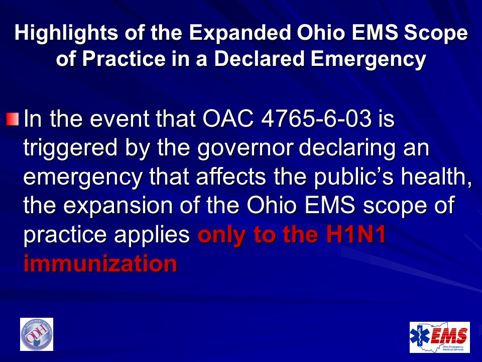 Highlights of the Expanded Ohio EMS Scope of Practice in a Declared Emergency