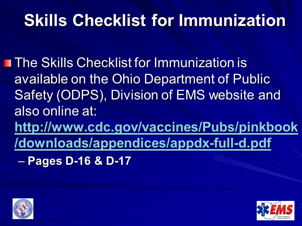 Skills Checklist for Immunization