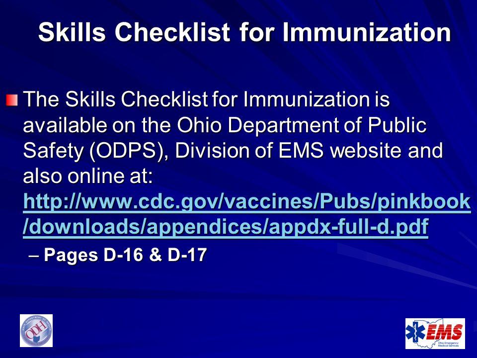 Skills Checklist for Immunization