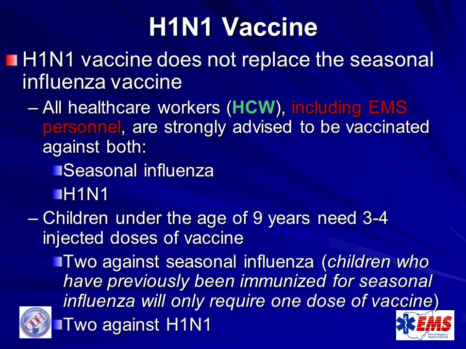 H1N1 Vaccine H1N1 vaccine does not replace the seasonal influenza vaccine.