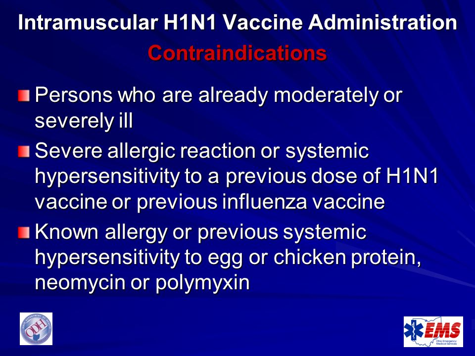 Intramuscular H1N1 Vaccine Administration Contraindications