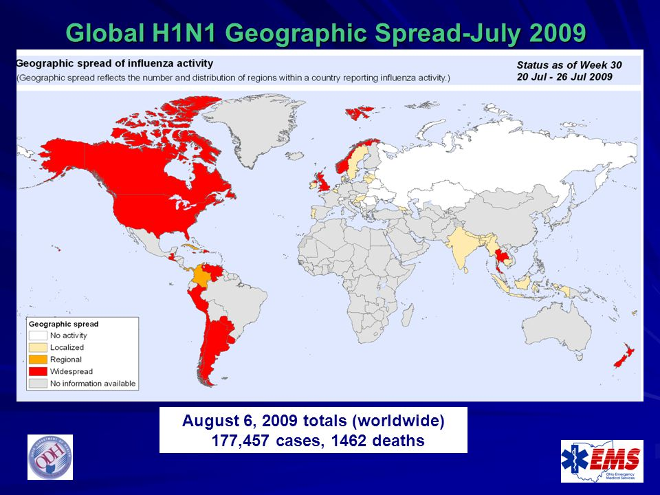 Global H1N1 Geographic Spread-July 2009
