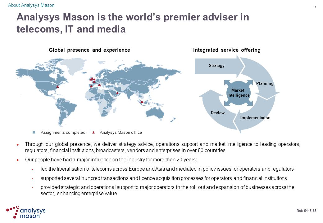 About Analysys Mason Analysys Mason is the world's premier adviser in telecoms, IT and media. Global presence and experience.