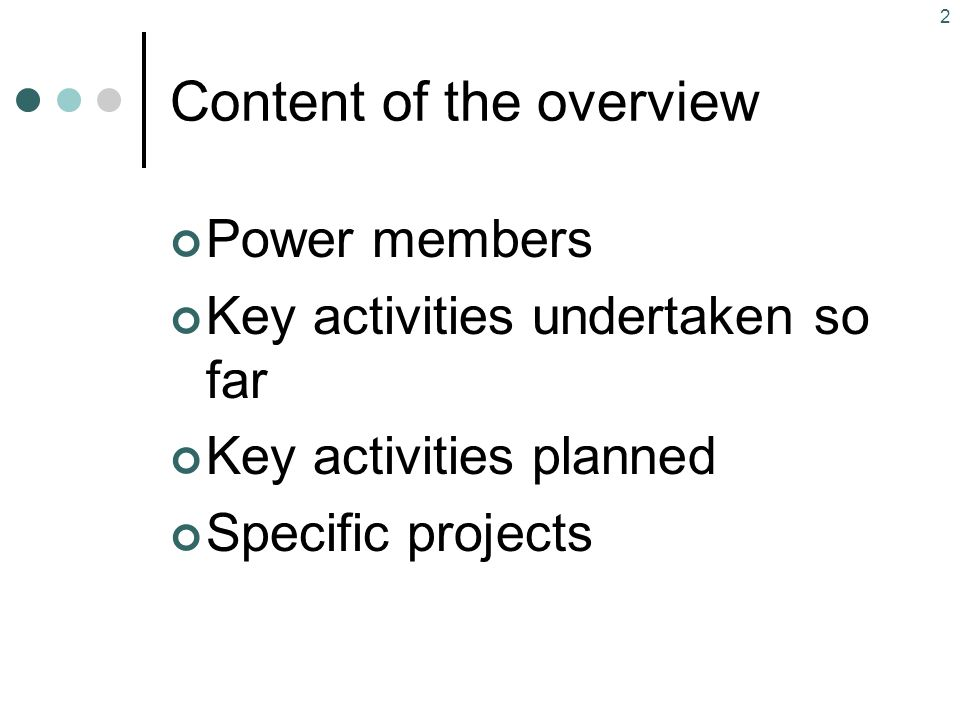 Content of the overview