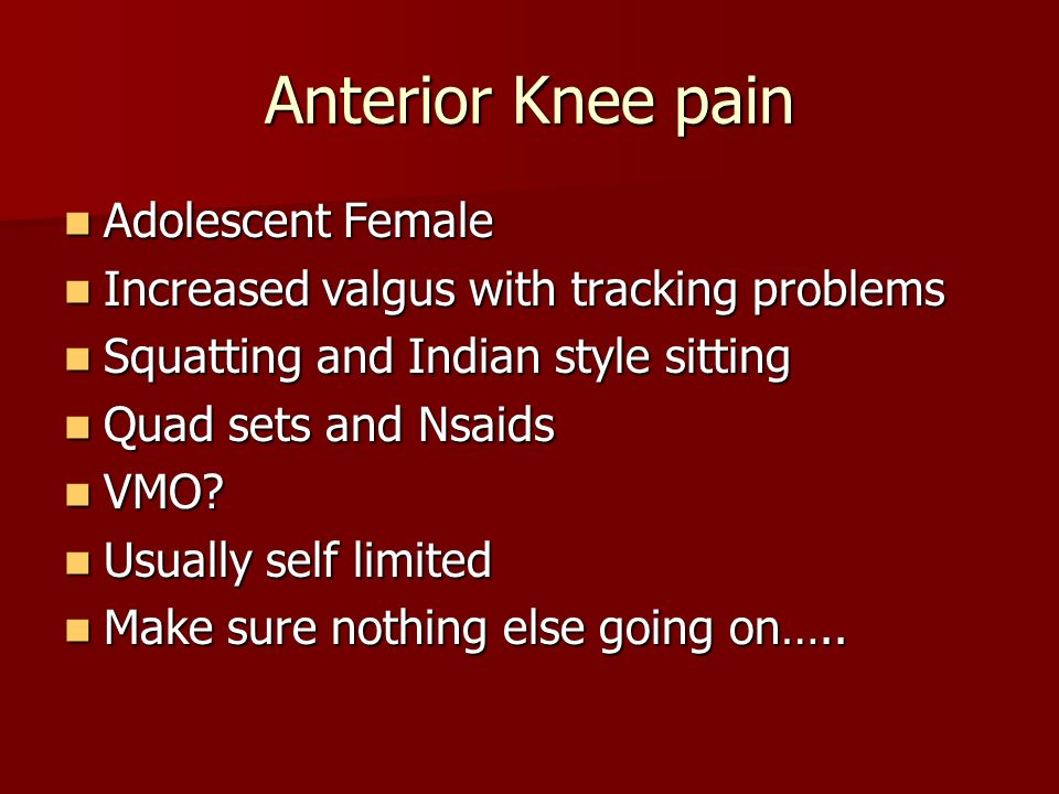 Anterior Knee pain Adolescent Female