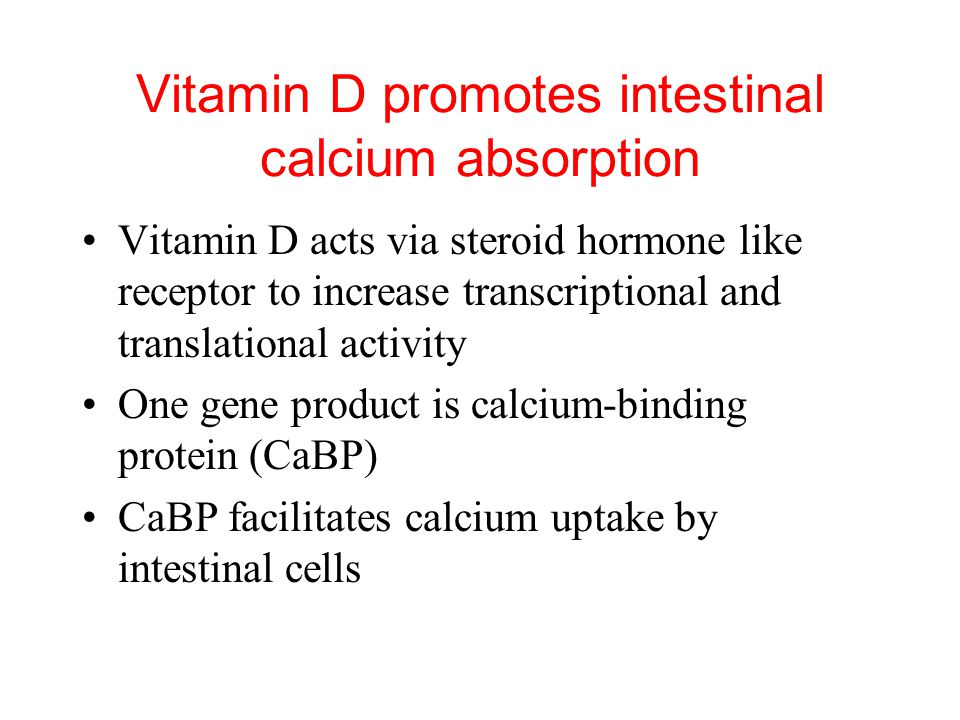 Vitamin D promotes intestinal calcium absorption