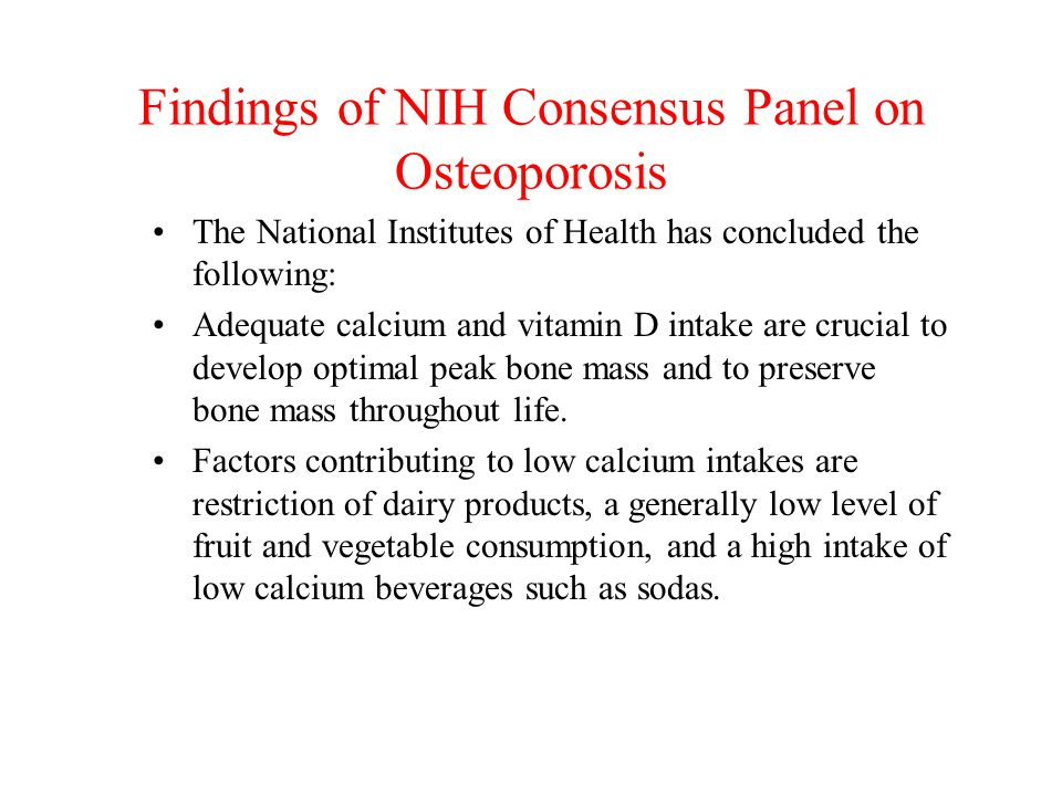 Findings of NIH Consensus Panel on Osteoporosis