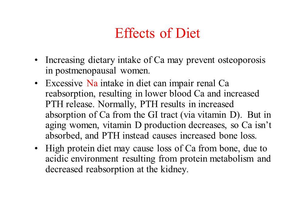 Effects of Diet Increasing dietary intake of Ca may prevent osteoporosis in postmenopausal women.