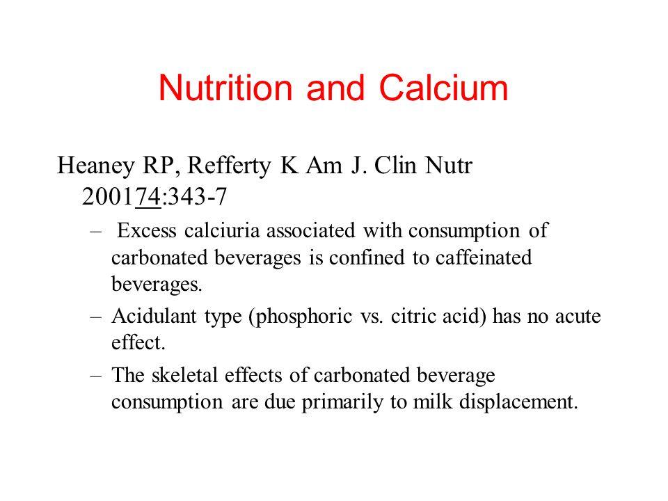 Nutrition and Calcium Heaney RP, Refferty K Am J. Clin Nutr 200174:343-7.