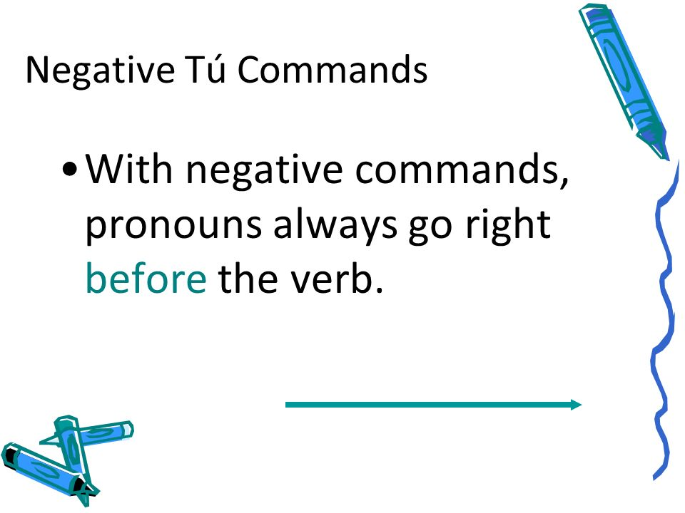 With negative commands, pronouns always go right before the verb.