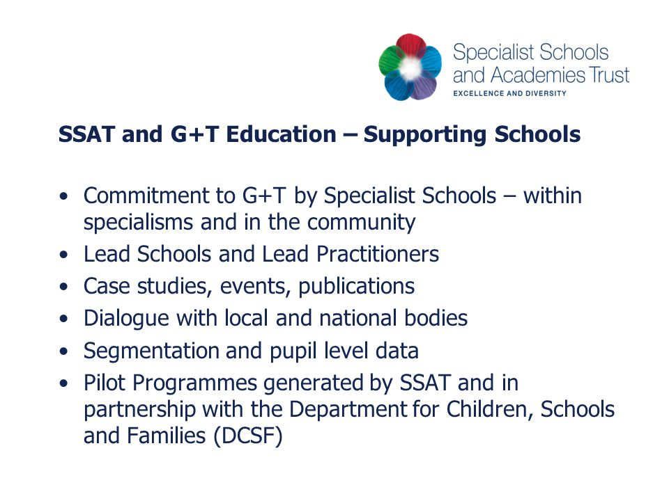 SSAT and G+T Education – Supporting Schools