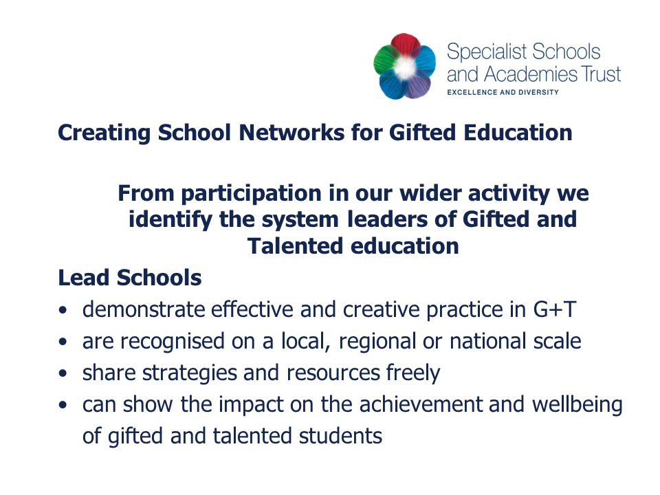 Creating School Networks for Gifted Education