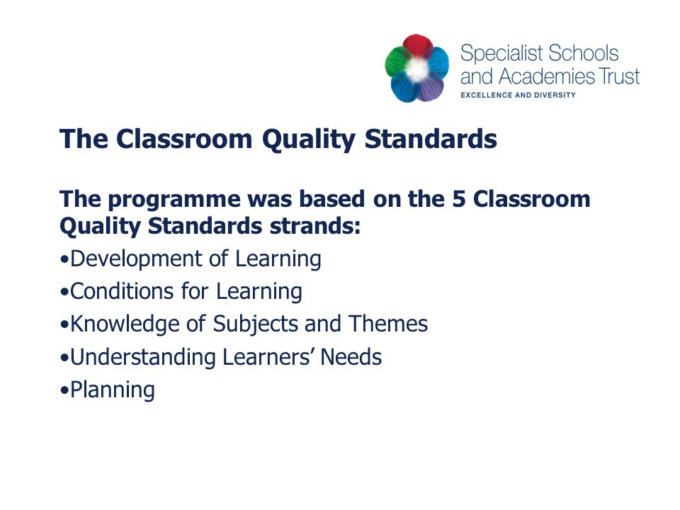 The Classroom Quality Standards